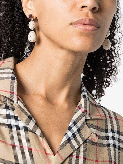 18K rose gold double mammoth egg tourmaline earrings