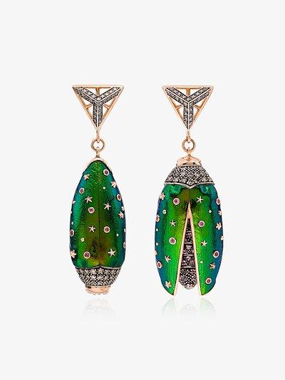 18K rose gold Scarab diamond earrings