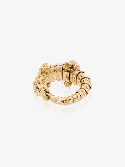 18K yellow gold alligator wrap ring