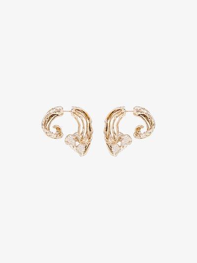 18K yellow gold wave diamond earrings