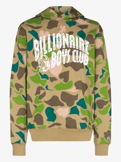 camouflage logo print cotton hoodie
