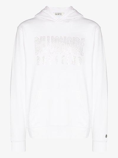 Swarovski logo cotton hoodie
