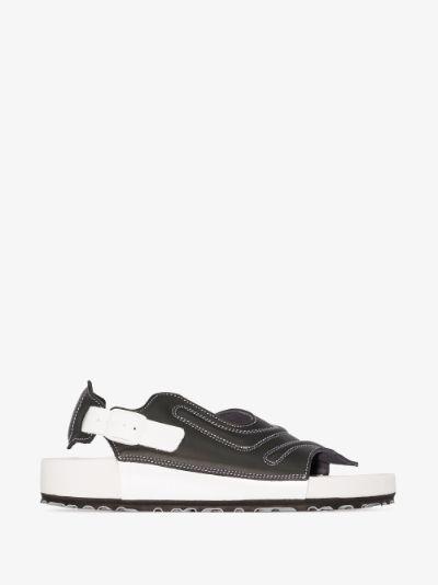 X CSM black and white Terra sandals