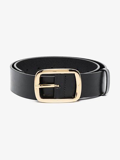 black avery leather belt