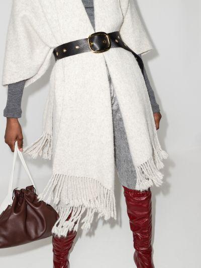 black lana eyelets leather belt