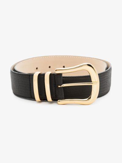 black marina lizard print leather belt