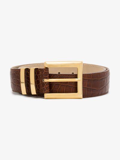 Brown Ida mock croc belt