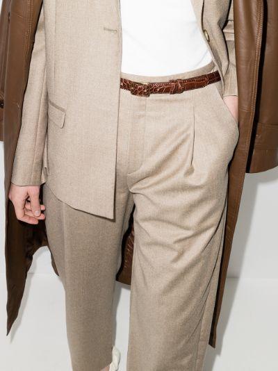 brown Lydia mock croc leather belt