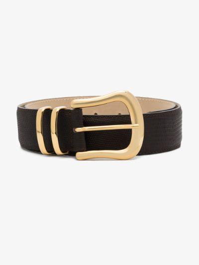brown Marina lizard effect leather belt
