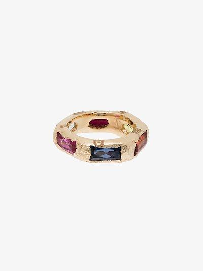 9K yellow gold Lotus sapphire ring