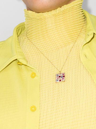 9K yellow gold rose garden sapphire pendant necklace