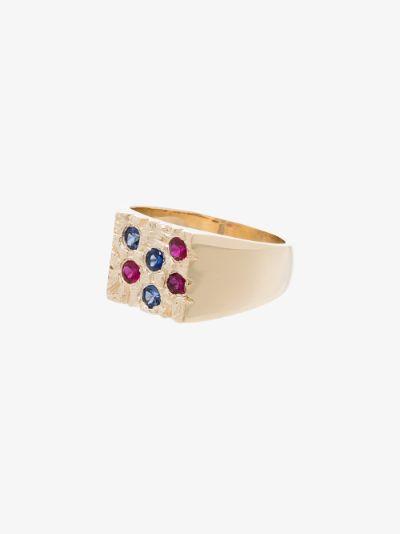 9K yellow gold Rose Garden sapphire signet ring