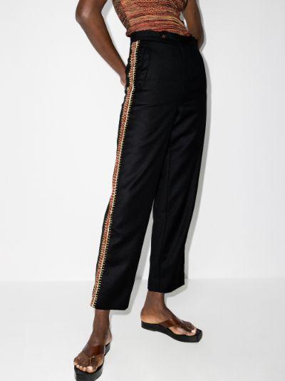 crochet trim merino wool trousers