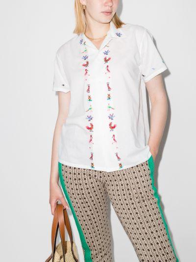 Cross-stitch Bird cotton shirt