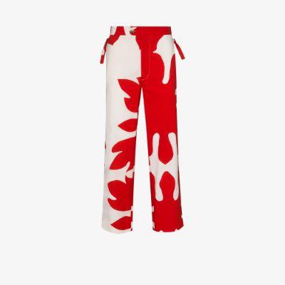 cutout appliqué cotton trousers
