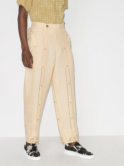 emblem ladder side tie trousers