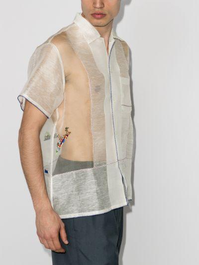 Sheer Pagoda embroidered shirt