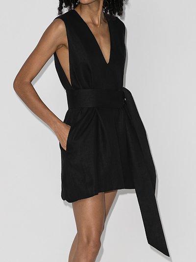 V-neck linen mini dress