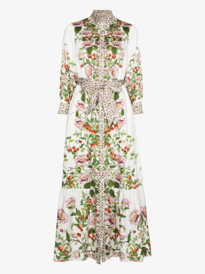 Demi floral maxi shirt dress