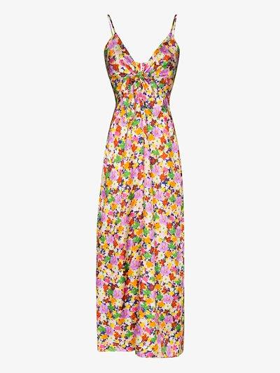 Flora floral print silk slip dress