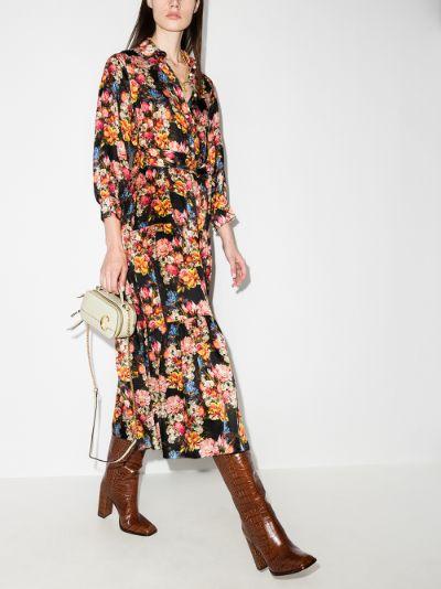 Issa floral silk shirt dress