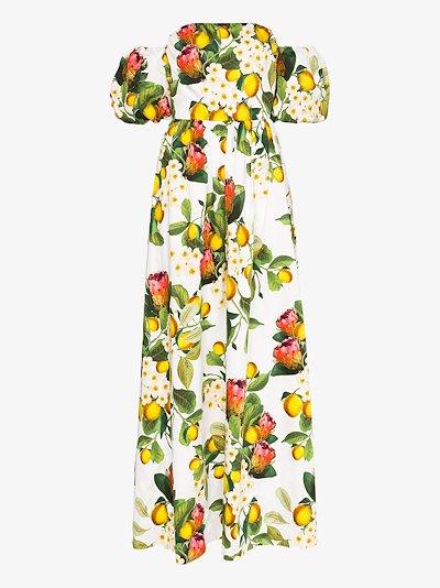 Juliette floral fruit print maxi dress