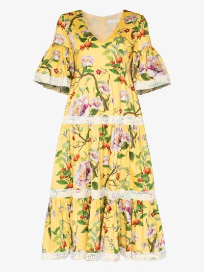 Malia floral tiered midi dress