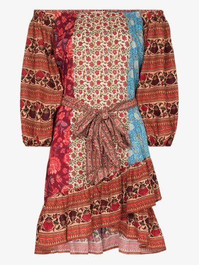 Darya off-the-shoulder patchwork dress