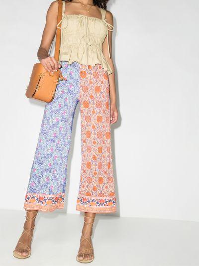 Elektra patchwork wide leg trousers