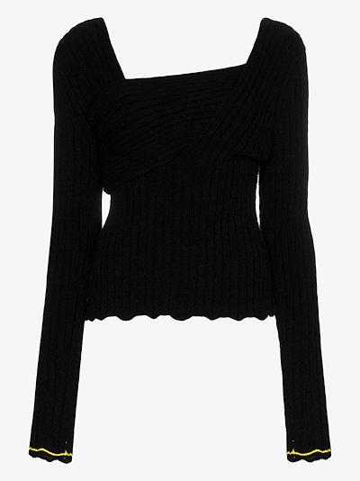 asymmetric rib knit top