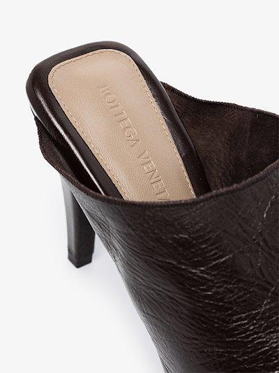 black 85 square toe leather mules