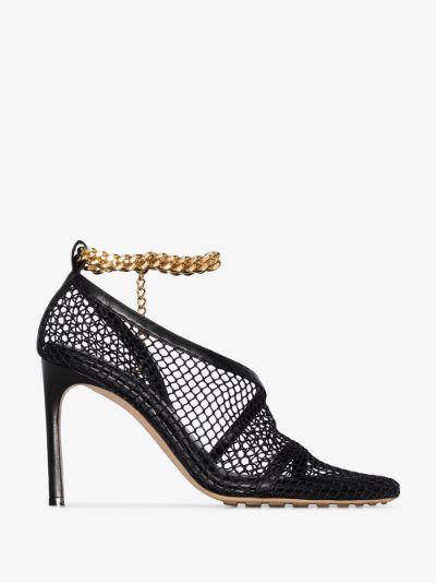 black 90 ankle chain sandals