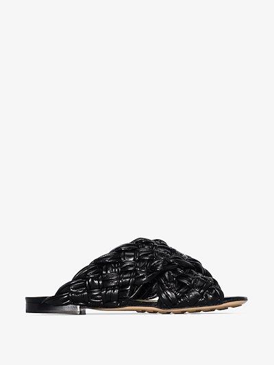 Black BV Board leather sandals