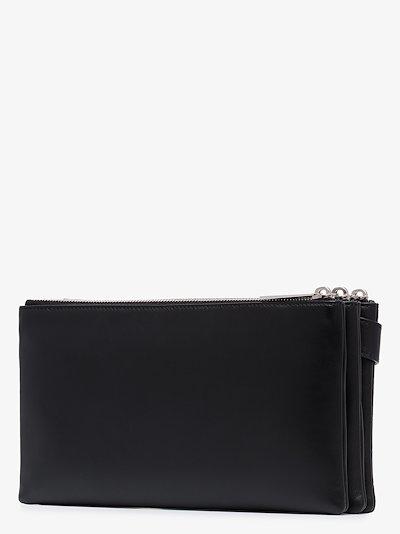 black embossed leather messenger bag