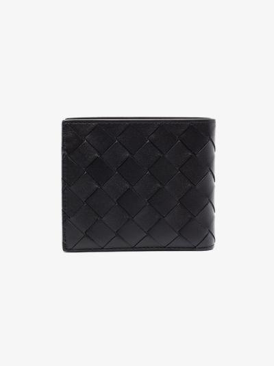 black Intrecciato bifold leather wallet