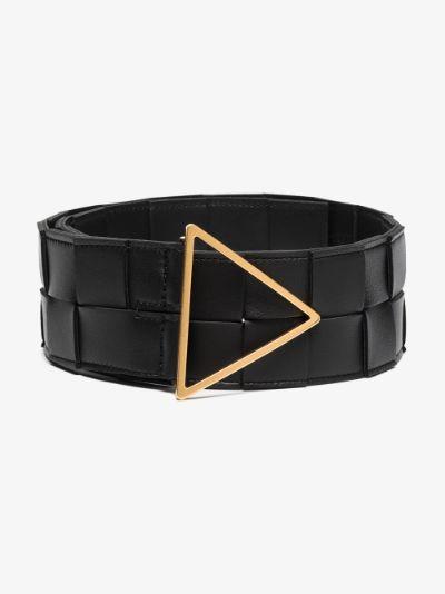 Black intrecciato leather belt