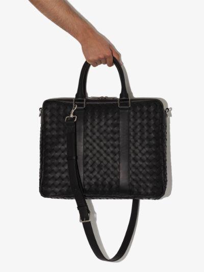 black Intrecciato leather briefcase