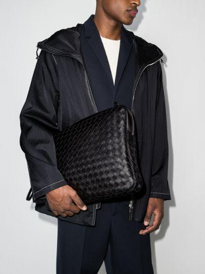 black Intrecciato leather documents case