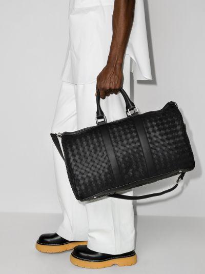 black Intrecciato leather holdall bag