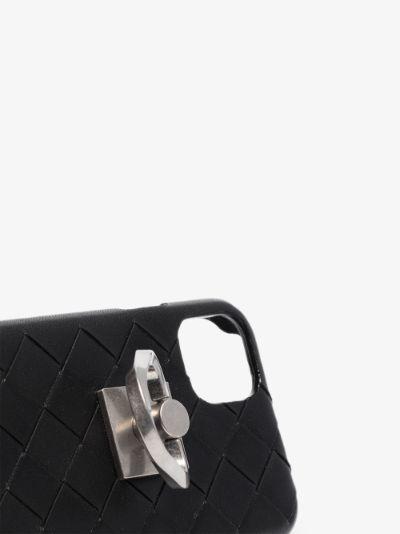black Intrecciato leather IPhone 11 case
