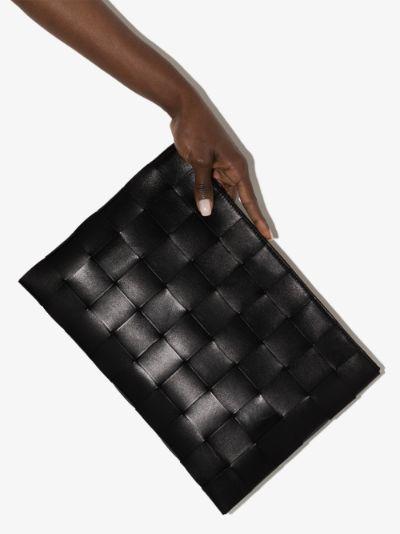 black Intrecciato leather pouch
