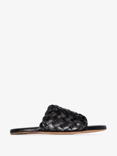 black Intrecciato leather sandals