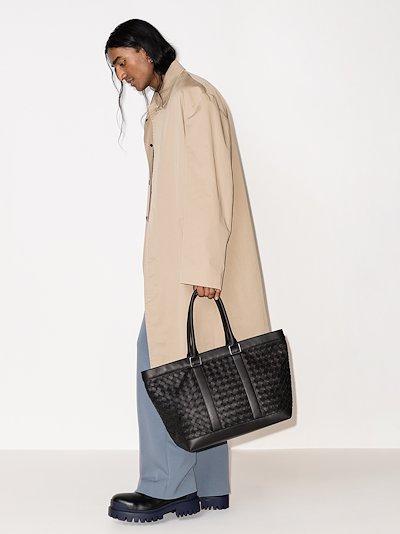 black intrecciato leather tote bag