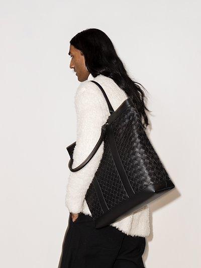 black Intrecciato weave leather tote bag