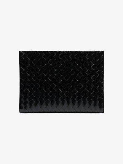 black Intreciatto weave leather pouch