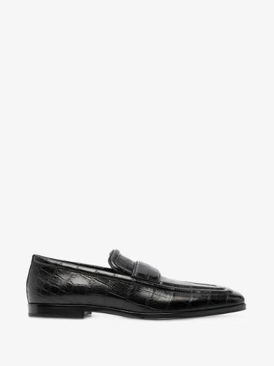 black mock croc leather loafers