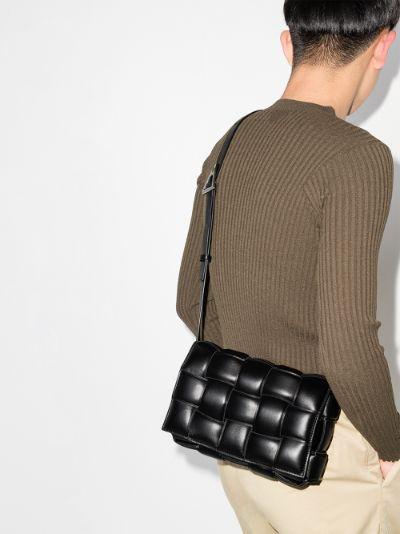 black padded Cassette leather shoulder bag
