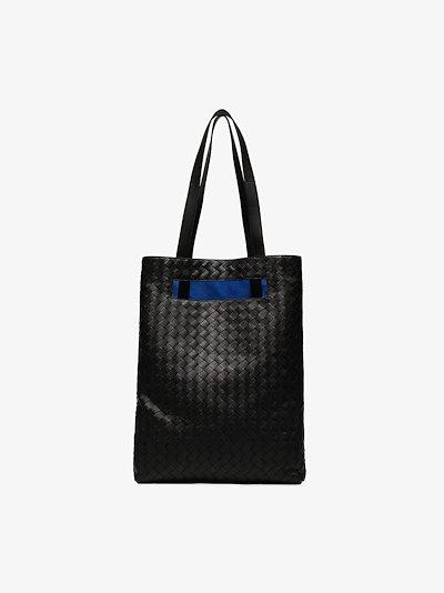 Black Slot leather Intrecciato tote bag