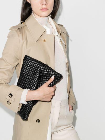 black The Crisscross leather clutch bag