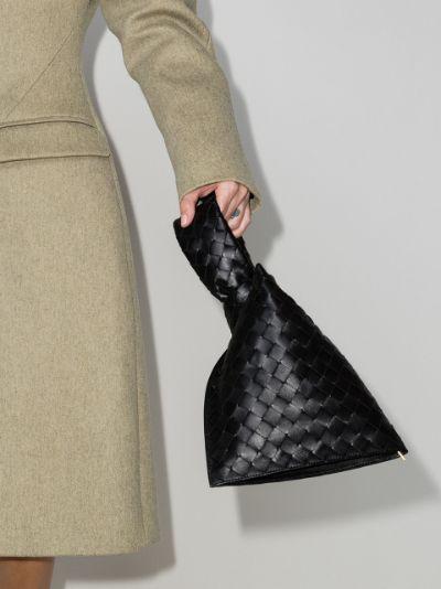 black The Mini Twist leather clutch bag